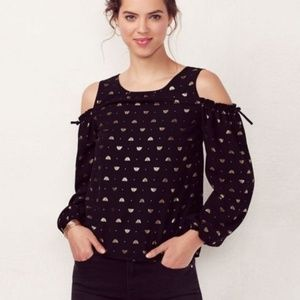 LC Lauren Conrad bee cold shoulder top